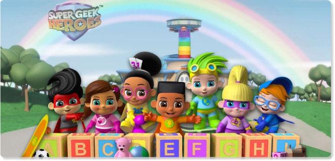 Super Geek Heroes | Shows for Kids | Slider image for Kids TV Shows & Nursery Rhymes | KidsBeeTV Safe Kiddies Video App | Kids fun Videos | educational video content | safe utube for kids