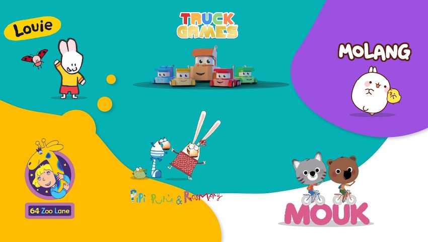 Blog Article About 64 Zoo Lane section image | Animation Studio Millimages inked a large deal with KidsBeeTV | millimages molang | millimages shows | Molang | 64 Zoo Lane | Louie Cartoon | Mouk and Chavapa