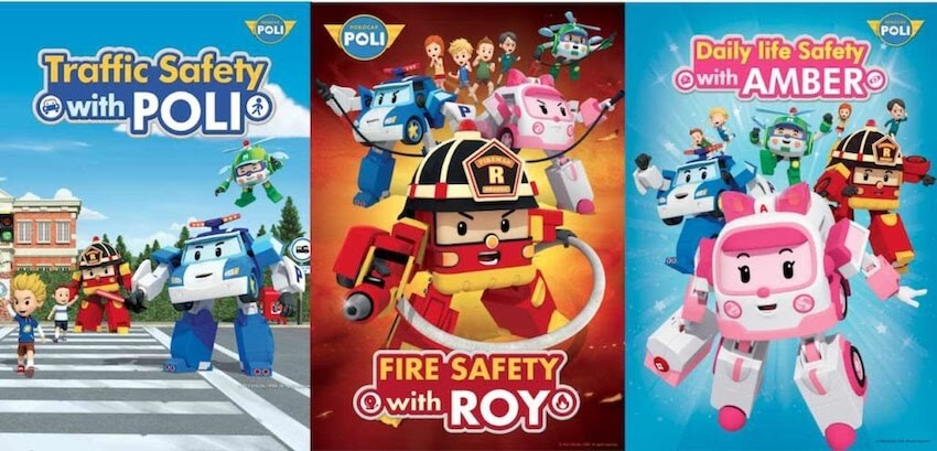 Watch Robocar Poli Roy and Amber on KidsBeeTV safe video app | Safety Series blog article image section | Daily Life Safety with Amber | Fire Safety with Roy| Poli cartoon | Parents & Kids Blog Article | Poli the Robocar