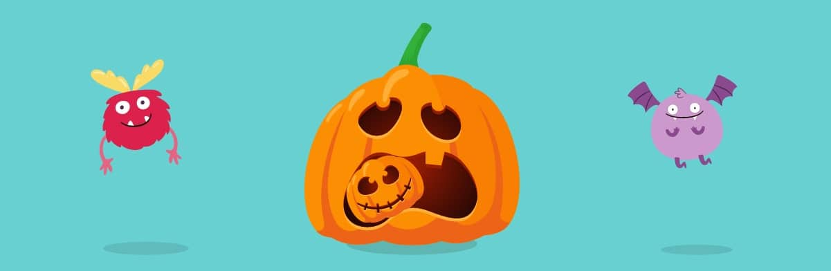 Big-Pumpkin-Eating-Small-Pumpkin Design | 4 Fun Last Minute Pumpkin Designs for Halloween 2021 | KidsBeeTV | cool pumpkin designs | designs for a pumpkin